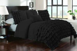 Waterfall Half Ruffle 3 PC or 5 PC Duvet Set US Full 1000 TC Egyptian Cotton