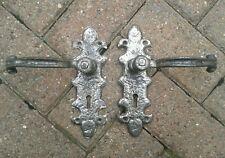 Vintage door reclaimed handles pair silvery pewter fleur De lys type
