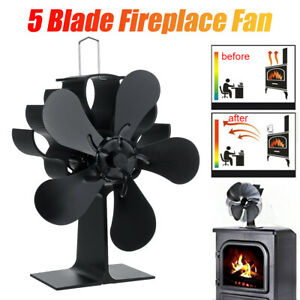 5 Blade Fan Heat Self-Powered Wood Stove Top Burner Fireplace Silent Eco Heater: