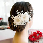Womens Sliver Flower Bridal Wedding Rhinestone Hair Clips Headpiece Accessories