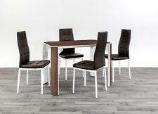 MDF wooden Dining Table with 4 or 6 Faux Leather Chairs in walnut brown or grey