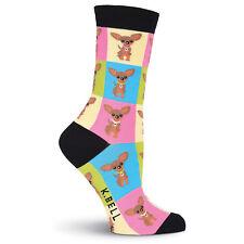 K.Bell Bright Multi Chihuahua Socks Cotton Ladies Crew Pink Socks New