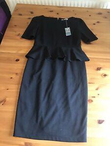 BNWT M&S Black Stretch Peplum Shift Dress Pencil Short Sleeves Size 12