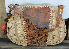 Emma Rose Natural Woven Tote Purse Handbag Leather w/Charms Zipper Large