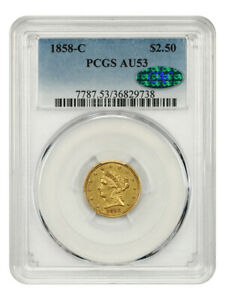 1858-C $2 1/2 PCGS/CAC AU53 - Popular Branch Mint Gold - 2.50 Liberty Gold Coin