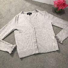 Banana Republic Filpucci Yarn Gray Ruffle Cuff Cardigan Sweater Size XS Cashmere