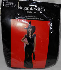 NEW WOMENS COSTUME ELEGANT WITCH BLACK & PURPLE DRESS CAPE HAT SASH SIZE S 4 - 6