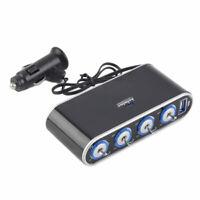 Car Cigarette Lighter Socket Splitter 12V/24V With USB LED Light Switch aW