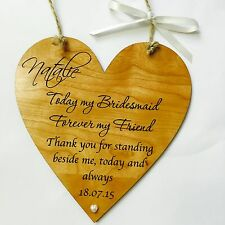 Bridesmaid wedding gift favour thank you wooden heart plaque sign shabby chic