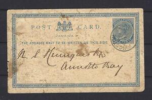 JAMAICA QV POSTAL HISTORY CARD 1879: 120 X 74 mm