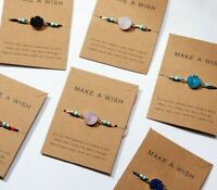 Make A Wish Bracelet card Lucky String Friendship Natural Stone Charm Adjustable