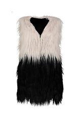 New Ladies Womens Ombre Faux Fur Trendy Gillet Top Waistcoat Jacket Top