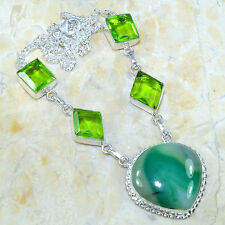 "BOTSWANA AGATE+PERIDOT NECKLACE 19"" 925 STAMPED STERLING SILVER. GORGEOUS STONES"