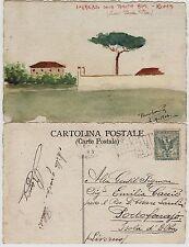 #ROMA: TENUTA BINI (FUORI PORTA PIA)-1906 DIS. ORIGINALE SU CARTONCINO-CARTOLINA