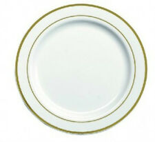 """White Plastic Plates 10"""" Extra Strong with Gold Rim Pack of 20"""
