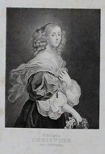 Christine regina di Svezia-ritratto portrait originale acciaio chiave Sweden