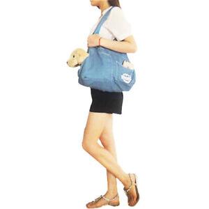 Light Blue Denim Pet Dog Carrier Bag Dog Cat Shoulder Sling Bag Tote Handbag