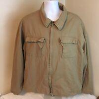 Timberland Weathergear Mens Shirt Jacket XL Beige Tan Full Zip 100% Cotton FS!