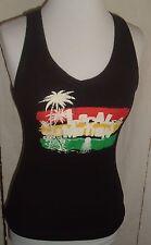 Local Motion Hawaiian Womens Jrs, Rainbow Palm ribbed black Tank Top Sz L