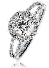 Diamond Halo Engagement Ring Dual Band 1.00ct, 18k White Gold