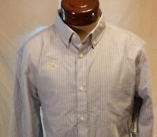 NWT St Johns's Bay Stripped Gray Long Sleeve Button Up Shirt Easy Care Size L