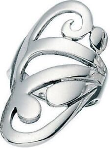 Elements 925 Polished Sterling Silver Oval Ornate Open Band Ladies Shield Ring