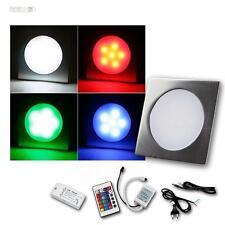 5er Komplett-Set RGB LED Einbauleuchten EBL Slim eckig Aluminium Einbaustrahler