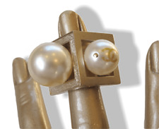 Chanel SS 2014 Permabrass Double Big Pearls Oversized Ring