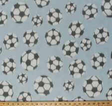 Soccer Balls with Gray Spots on Baby Blue Sports Fleece Fabric Print BTY A409.11