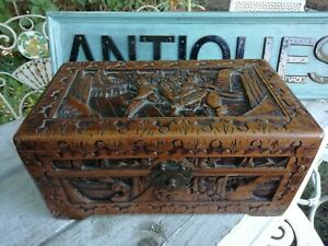 Vintage Chinese Carved Camphor Wood Chest Box Figural Fighting Scene