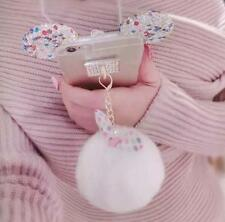 3D Cute Luxury Bling Diamond Rabbit Fur Ring Holder Stand Soft Clear Case Cover