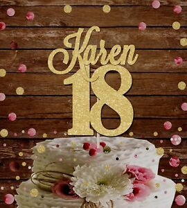NUMBER 18 GOLD GLITTER NAME BIRTHDAY PARTY CAKE TOPPER 18th birthday