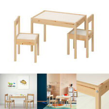 IKEA LÄTT Children's Table With 2 Chairs Set Natural Wooden White Pine For Kids