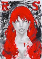 Red Sonja by Marc Holanda (11x16) - Original Pinup Comic Art