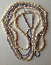 """VTG 2 Strand Natural Seed Pearl Necklace with 10k Gold Beads Cream Blue LONG 34"""""""