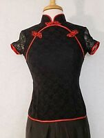 Classic Asian Chinese Women Traditional Shirt Silk Lace Blouse Top Red & Black