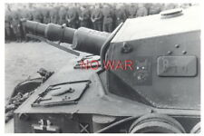 WWII ORIGINAL GERMAN WAR PHOTO TANK WITH DIVISION EMBLEM & SOLDIERS
