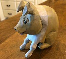 Vintage Larry Koosed 1989 Wooden Folk Art Hand Carved Wood Farm Pig Signed