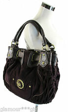JUICY COUTURE LARGE HOBO BAG PURSE EGGPLANT PURPLE VELOUR WITH LEATHER TRIM EUC