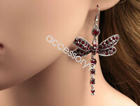 Gorgeous ruby red dragonfly crystal rhinestone silver plated hook earrings B40