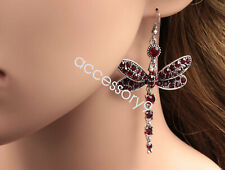 Ruby Red Dragonfly Crystal Rhinestone Silver Plated Hook Earrings B40
