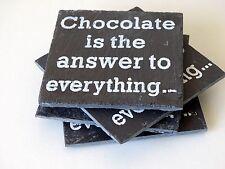 4 Set di sottobicchieri Ardesia quadrato cioccolato è la risposta a tutto Bevande Sottobicchieri