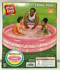 New ListingPlay Day Round Inflatable 3-Ring Pool Kids Outdoor Summer Fun Activities Pink