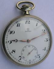 VINTAGE OMEGA OPEN FACE MEN'S POCKET WATCH SWISS MADE 1950's KEEP GOOD TIME