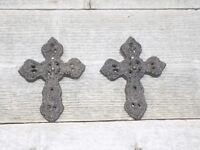 """2 Rustic Cast Iron Crosses With Wall Mount 4 1/4"""" X 3 1/4"""" Hanging Cross"""