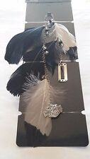 HARLEY DAVIDSON FEATHER CLIP BY HAIR GLOVE  WTE/BLK FEATHERS,  EMBLEM, BEADS