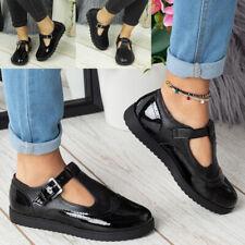 Ladies School Shoes Girls Comfy Womens Pumps Flat T-Bar Buckle Work Office Kids