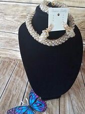 New Handmade Crafted Cream Bead Necklace Bracelets and Earrings Jewelry Set