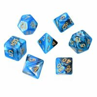 7pcs/Set Dice Blue For TRPG Dungeons Dragons Resin Multi-sided Polyhedral Sale