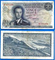 Luxemburg 20 Francs 1966 Prefix E  Bridge Luxembourg Duche Europe Free Ship Wd